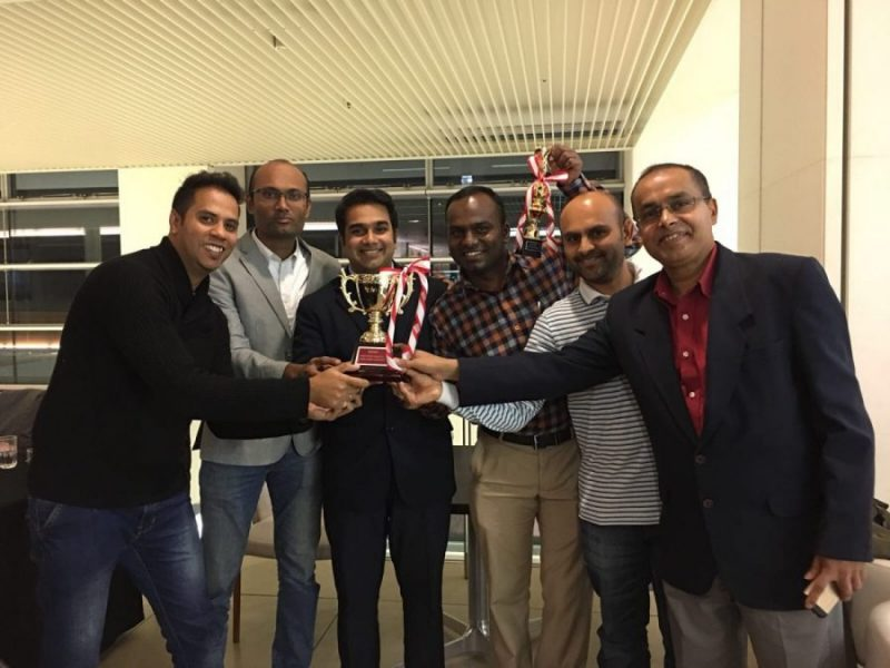 The Engineers with the winner's trophy
